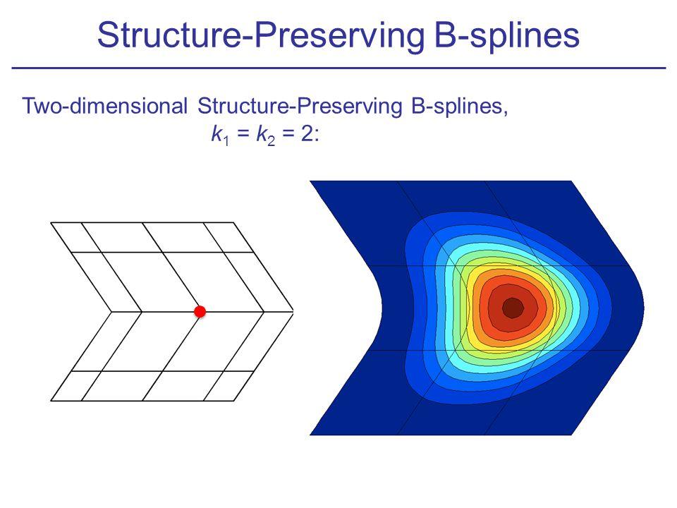 Two-dimensional Structure-Preserving B-splines, k 1 = k 2 = 2: