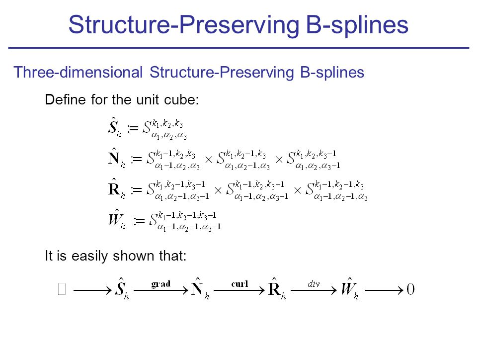 Define for the unit cube: It is easily shown that: Structure-Preserving B-splines Three-dimensional Structure-Preserving B-splines