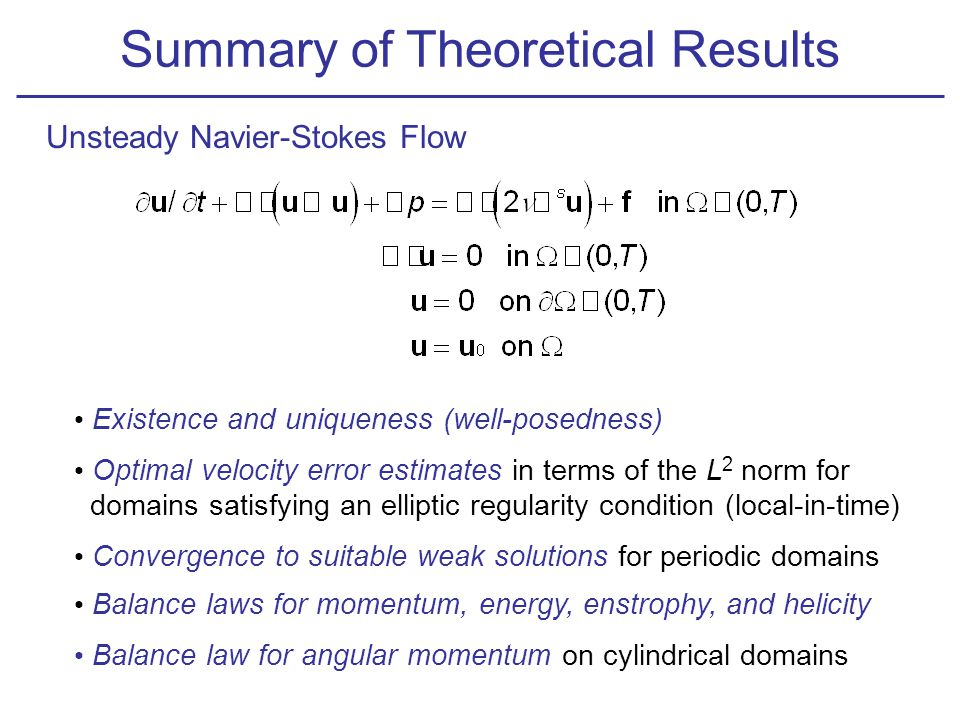 Summary of Theoretical Results Unsteady Navier-Stokes Flow Existence and uniqueness (well-posedness) Optimal velocity error estimates in terms of the