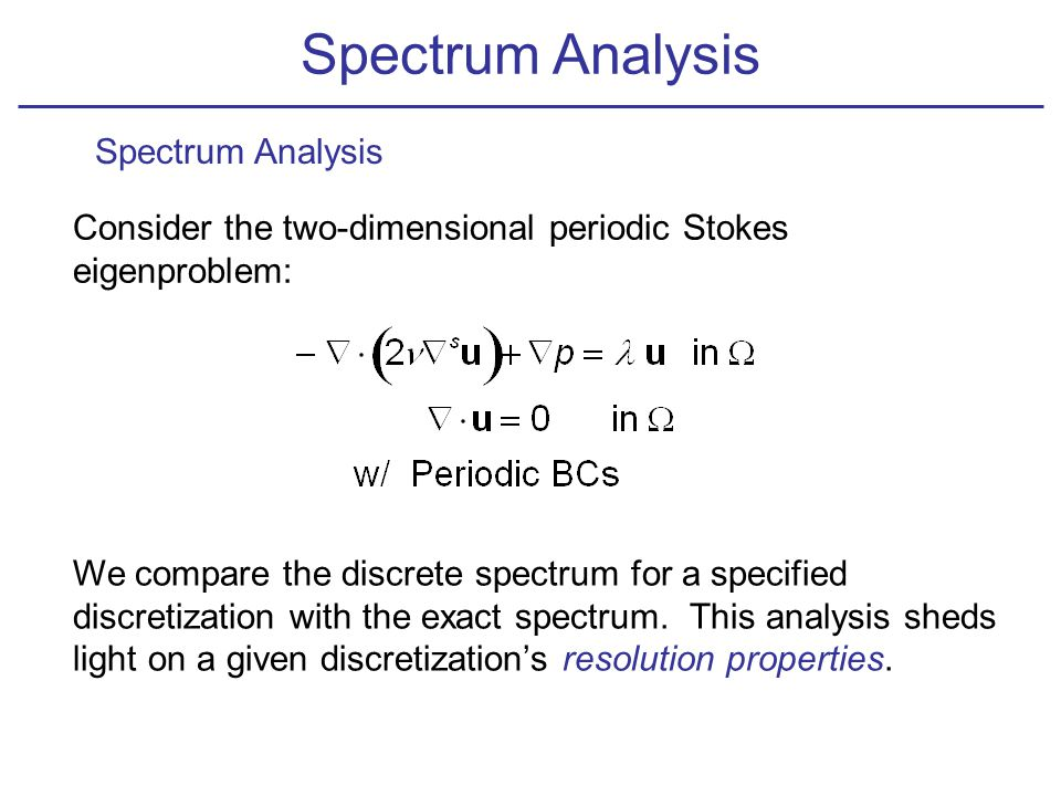 Spectrum Analysis Consider the two-dimensional periodic Stokes eigenproblem: We compare the discrete spectrum for a specified discretization with the exact spectrum.