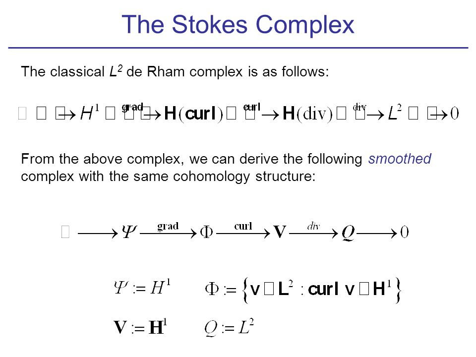 The Stokes Complex The classical L 2 de Rham complex is as follows: From the above complex, we can derive the following smoothed complex with the same cohomology structure: