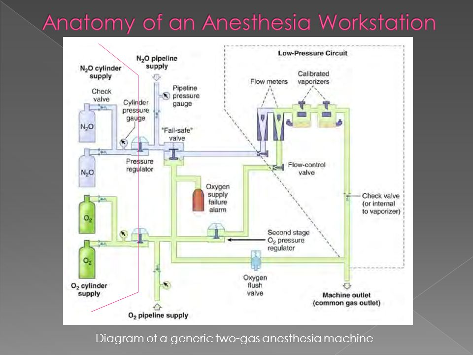 Diagram of a generic two-gas anesthesia machine