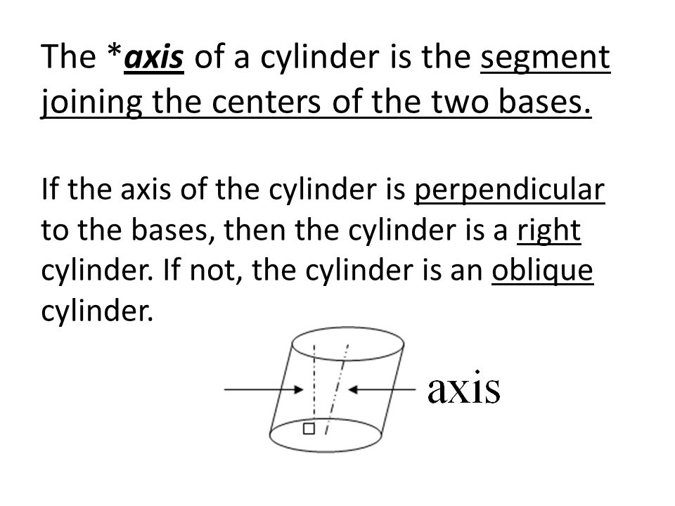 The *axis of a cylinder is the segment joining the centers of the two bases. If the axis of the cylinder is perpendicular to the bases, then the cylin