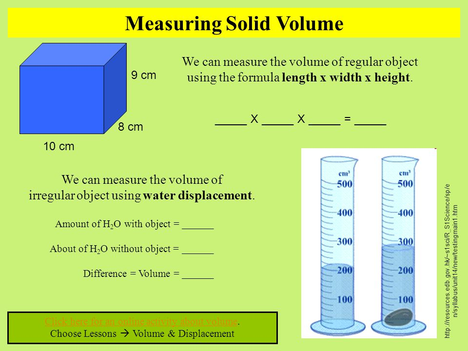 Measuring Solid Volume Click here for an online activity about volumeClick here for an online activity about volume. Choose Lessons  Volume & Displac
