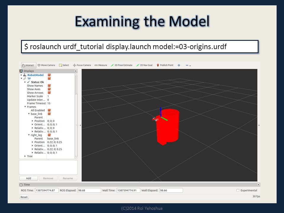 $ roslaunch urdf_tutorial display.launch model:=03-origins.urdf