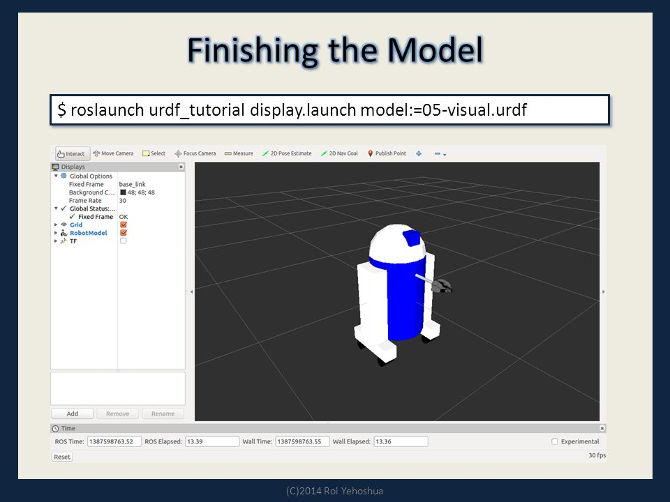 $ roslaunch urdf_tutorial display.launch model:=05-visual.urdf