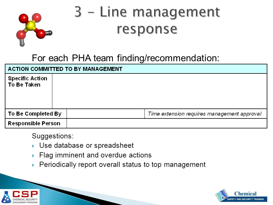 3 - Line management response For each PHA team finding/recommendation: Suggestions:  Use database or spreadsheet  Flag imminent and overdue actions