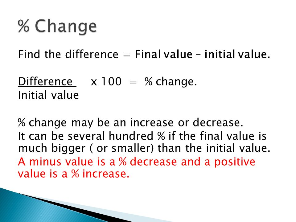 Find the difference = Final value – initial value.