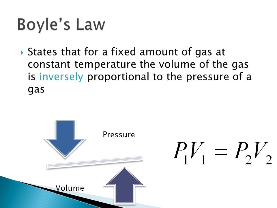  States that for a fixed amount of gas at constant temperature the volume of the gas is inversely proportional to the pressure of a gas Pressure Volu