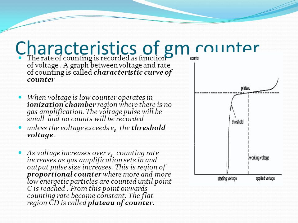 Characteristics of gm counter The rate of counting is recorded as function of voltage. A graph between voltage and rate of counting is called characte