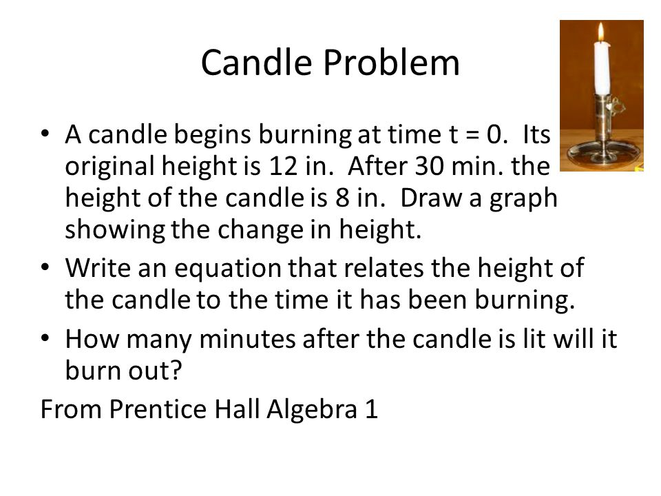 Candle Problem A candle begins burning at time t = 0.
