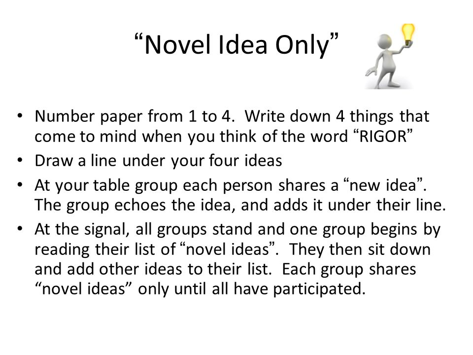 Novel Idea Only Number paper from 1 to 4.