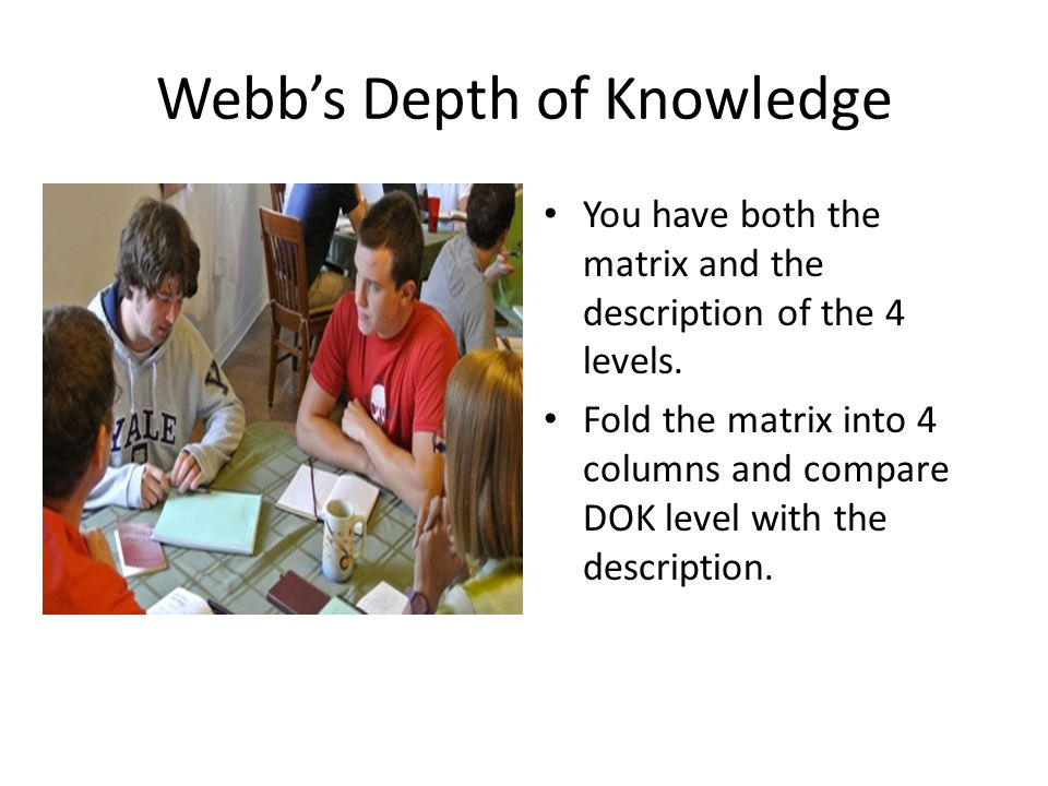 Webb's Depth of Knowledge You have both the matrix and the description of the 4 levels.