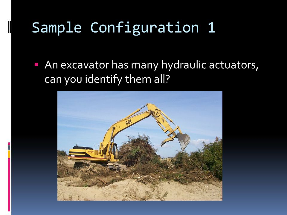 Sample Configuration 1  An excavator has many hydraulic actuators, can you identify them all