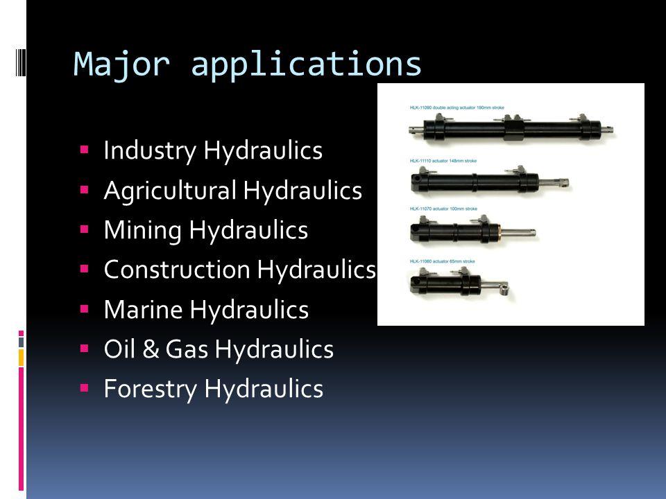 Major applications  Industry Hydraulics  Agricultural Hydraulics  Mining Hydraulics  Construction Hydraulics  Marine Hydraulics  Oil & Gas Hydraulics  Forestry Hydraulics