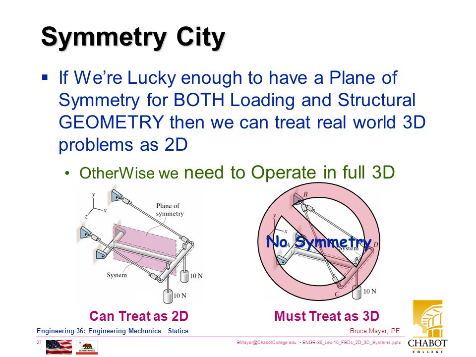 BMayer@ChabotCollege.edu ENGR-36_Lec-10_FBDs_2D_3D_Systems.pptx 27 Bruce Mayer, PE Engineering-36: Engineering Mechanics - Statics Symmetry City  If We're Lucky enough to have a Plane of Symmetry for BOTH Loading and Structural GEOMETRY then we can treat real world 3D problems as 2D OtherWise we need to Operate in full 3D Can Treat as 2DMust Treat as 3D No Symmetry