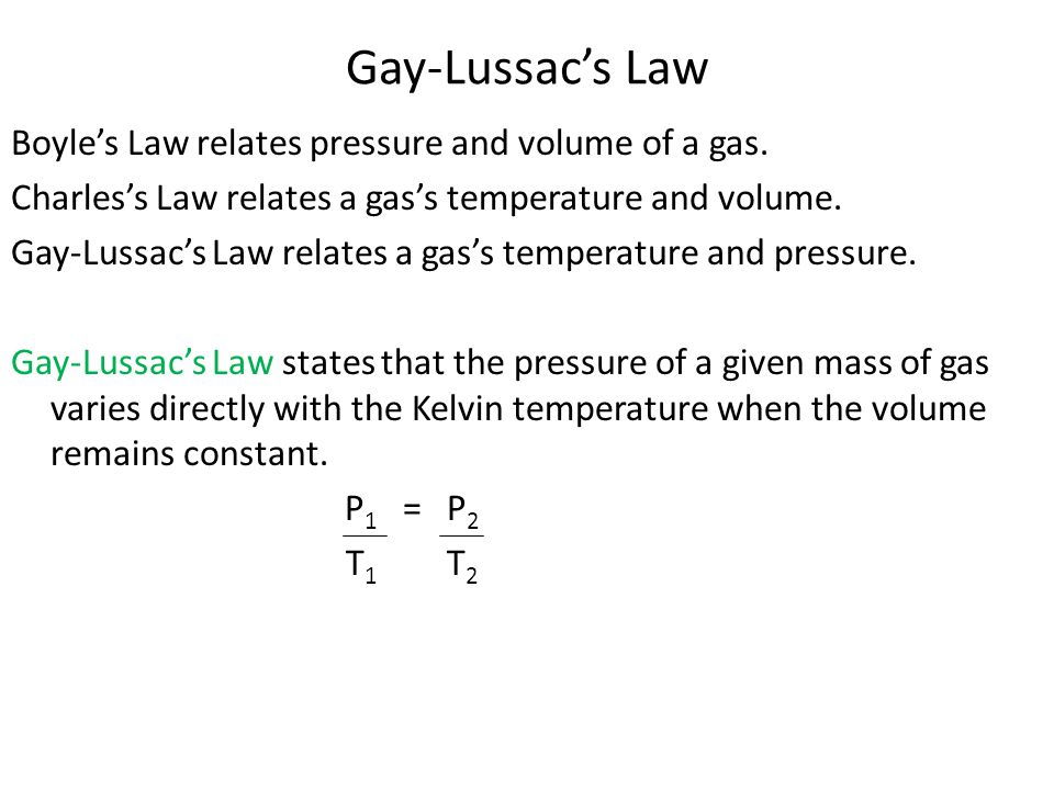Gay-Lussac's Law Boyle's Law relates pressure and volume of a gas. Charles's Law relates a gas's temperature and volume. Gay-Lussac's Law relates a ga