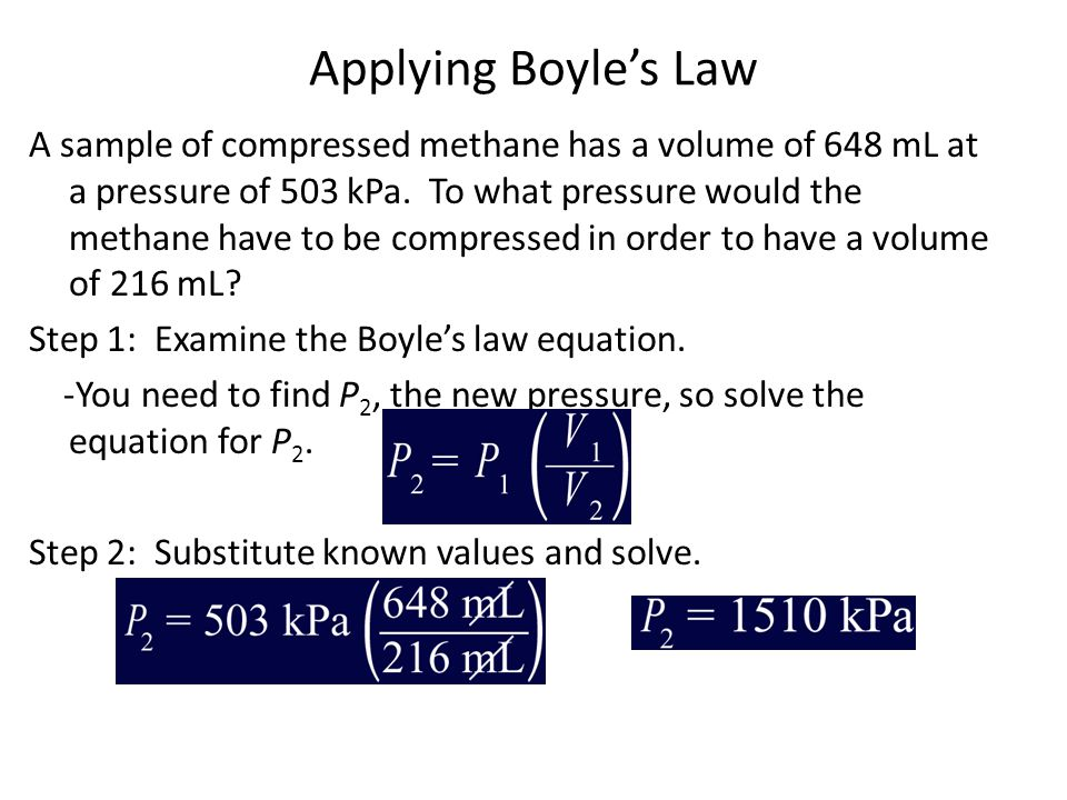 Applying Boyle's Law A sample of compressed methane has a volume of 648 mL at a pressure of 503 kPa. To what pressure would the methane have to be com