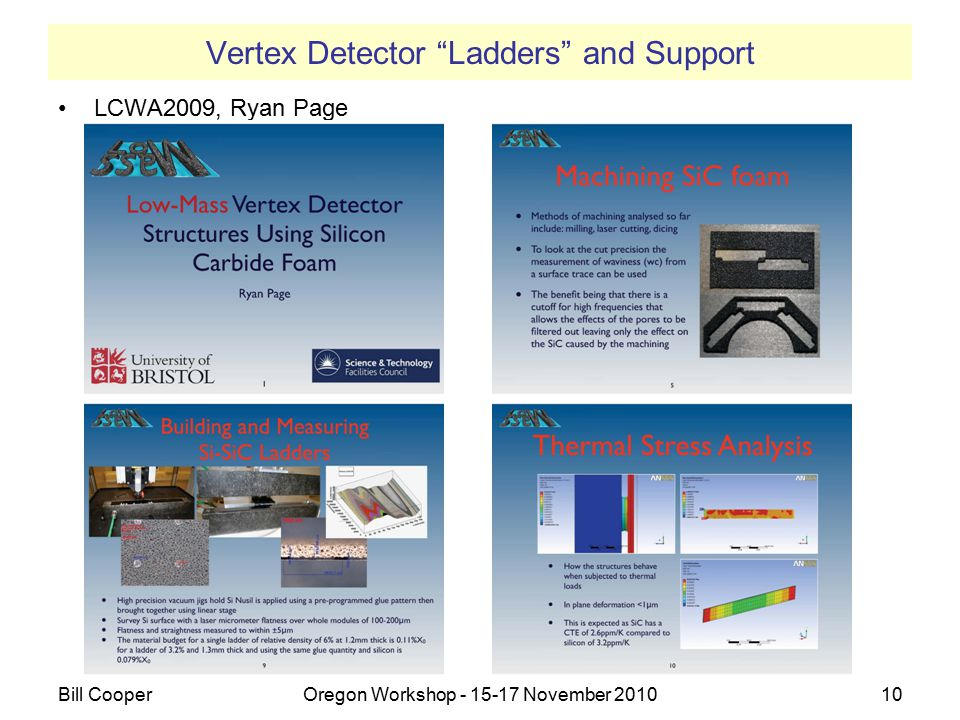 "Vertex Detector ""Ladders"" and Support LCWA2009, Ryan Page Bill CooperOregon Workshop - 15-17 November 201010 10"