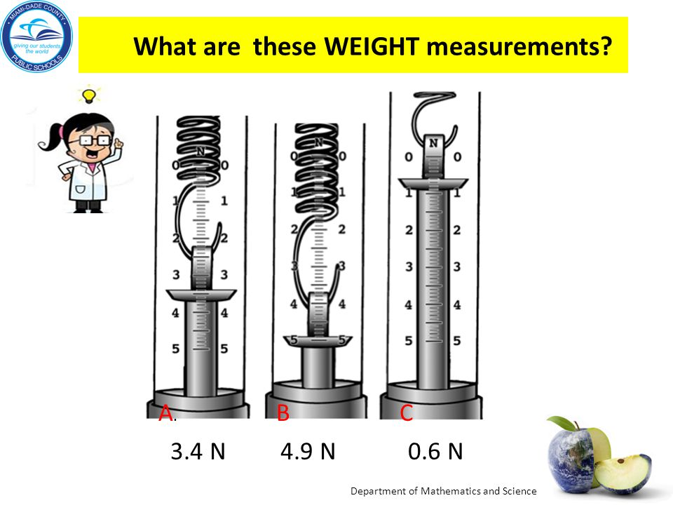 Department of Mathematics and Science Look at the spring scale drawings below, up to how many Newtons will they measure? Each spring scale measures up