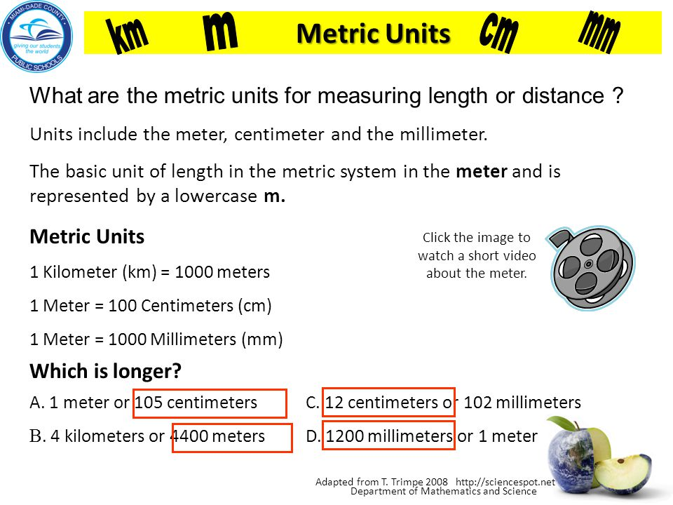 Department of Mathematics and Science What is Length? Length- is the distance between two points. How long is the screw in centimeters? It is 5.1 cent