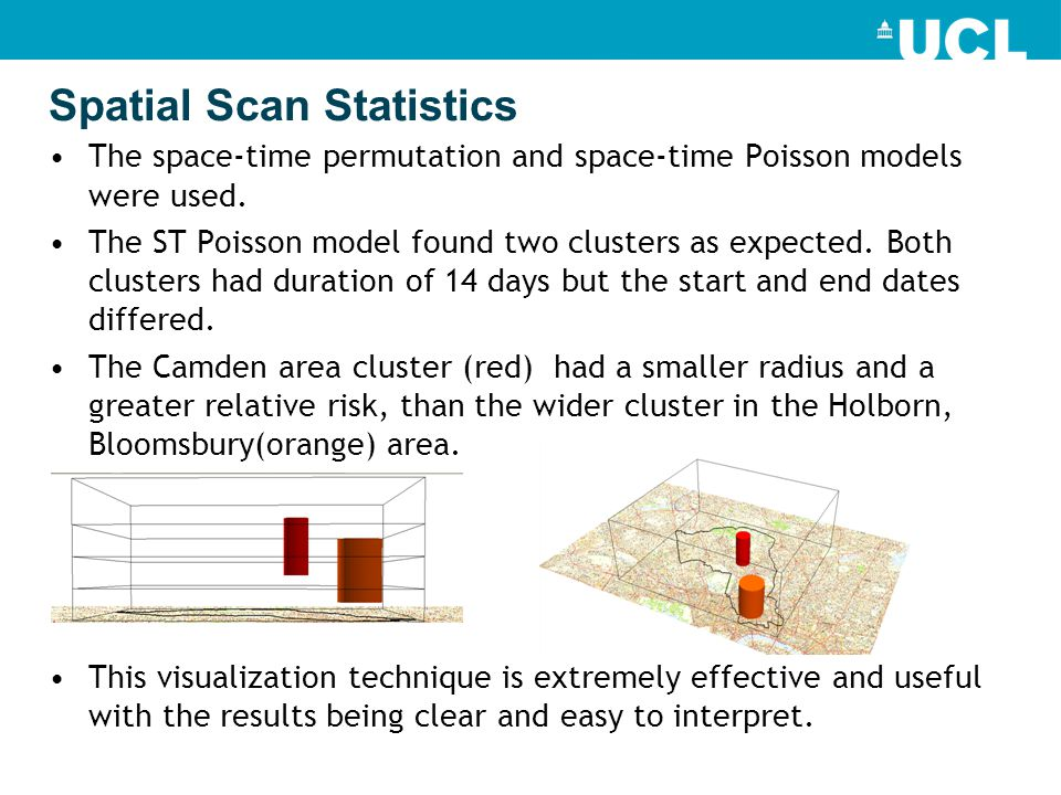 Spatial Scan Statistics The space-time permutation and space-time Poisson models were used.