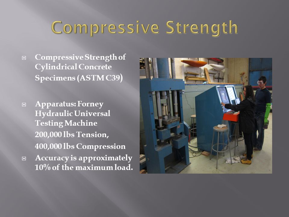  Compressive Strength of Cylindrical Concrete Specimens (ASTM C39 )  Apparatus: Forney Hydraulic Universal Testing Machine 200,000 lbs Tension, 400,