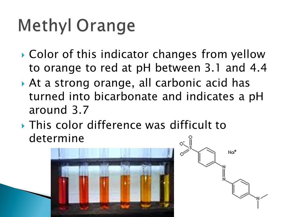  Color of this indicator changes from yellow to orange to red at pH between 3.1 and 4.4  At a strong orange, all carbonic acid has turned into bicarbonate and indicates a pH around 3.7  This color difference was difficult to determine