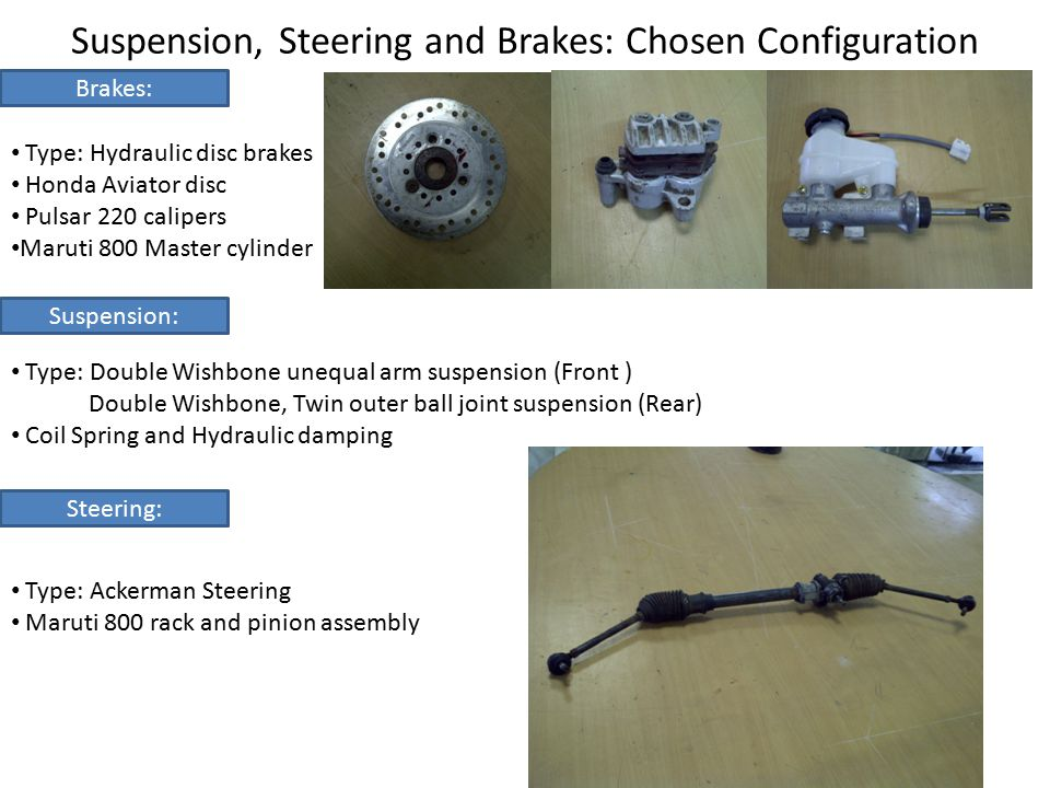 Suspension, Steering and Brakes: Chosen Configuration Brakes: Type: Hydraulic disc brakes Honda Aviator disc Pulsar 220 calipers Maruti 800 Master cyl