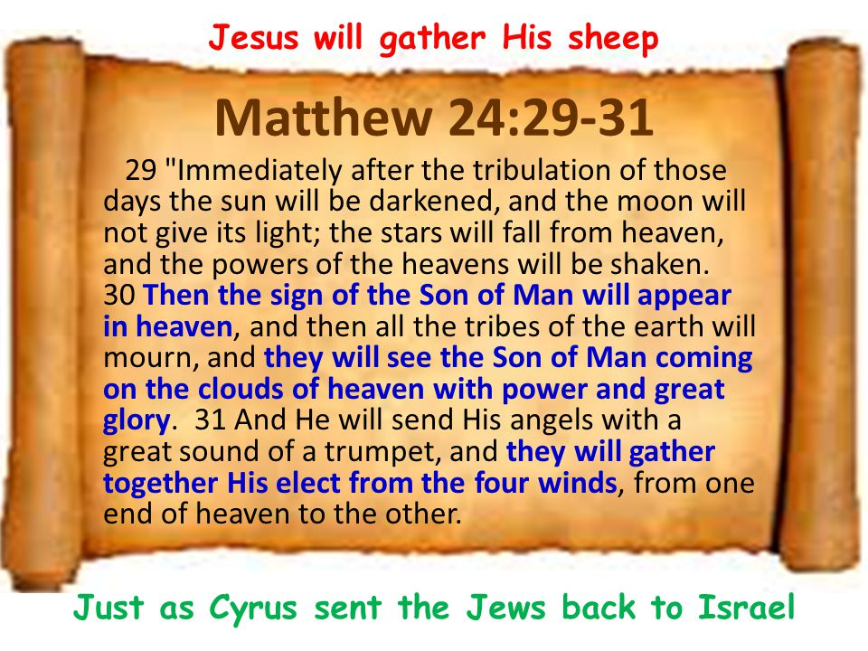 Matthew 24:29-31 29 Immediately after the tribulation of those days the sun will be darkened, and the moon will not give its light; the stars will fall from heaven, and the powers of the heavens will be shaken.