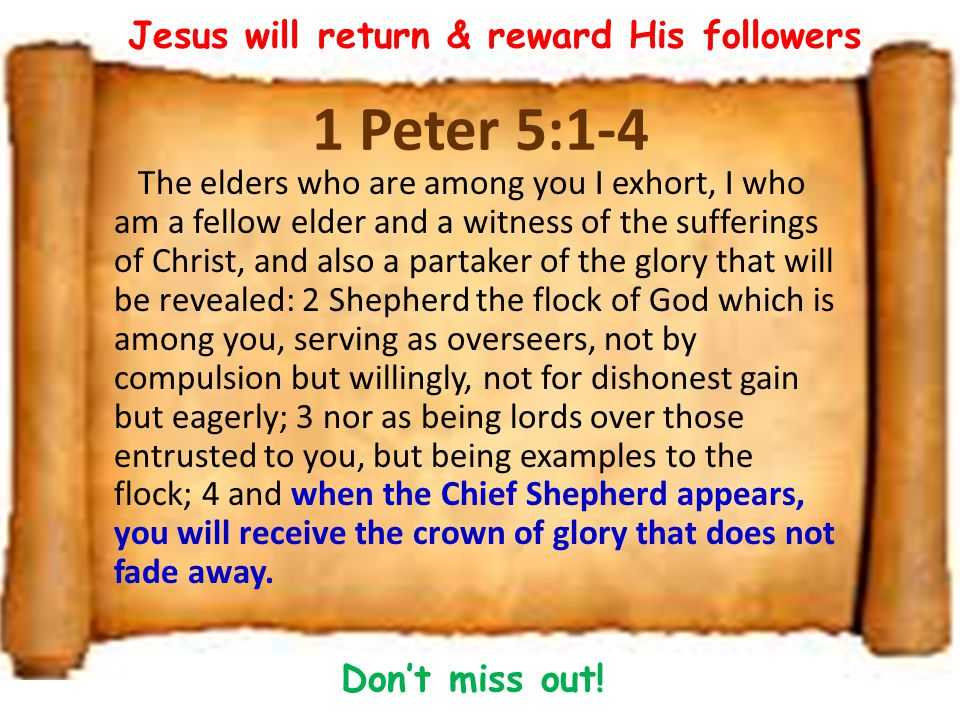 1 Peter 5:1-4 The elders who are among you I exhort, I who am a fellow elder and a witness of the sufferings of Christ, and also a partaker of the glory that will be revealed: 2 Shepherd the flock of God which is among you, serving as overseers, not by compulsion but willingly, not for dishonest gain but eagerly; 3 nor as being lords over those entrusted to you, but being examples to the flock; 4 and when the Chief Shepherd appears, you will receive the crown of glory that does not fade away.