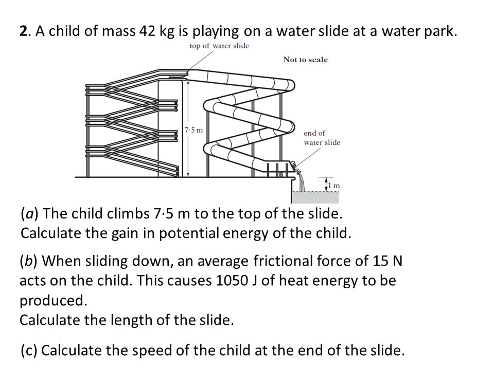 2. A child of mass 42 kg is playing on a water slide at a water park.