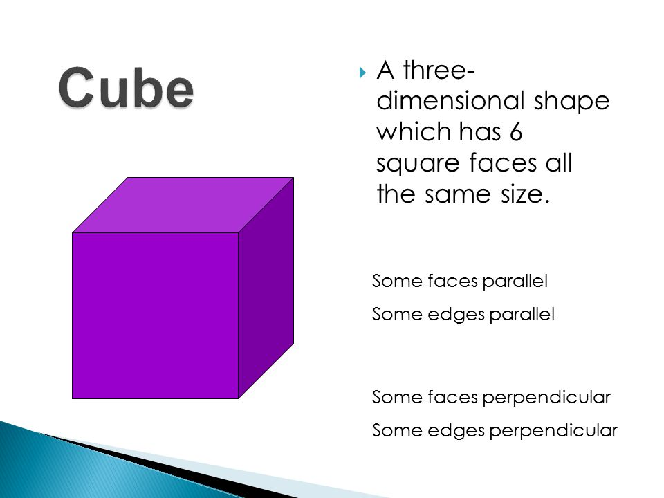 AA three- dimensional shape which has 6 square faces all the same size.