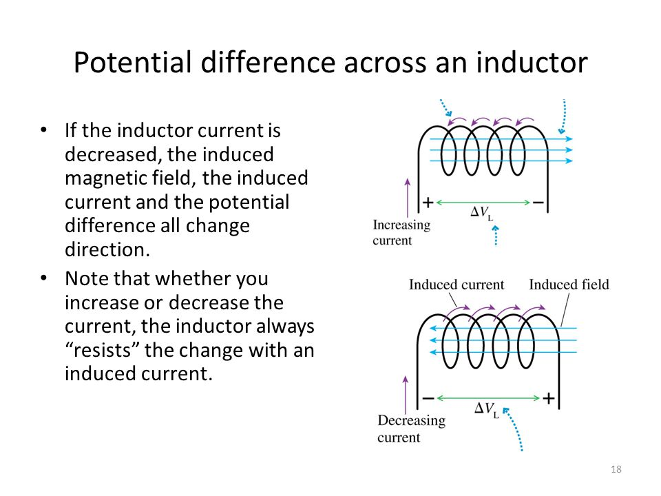 Potential difference across an inductor The potential difference across the inductor can be found using Faraday's Law: Where Φ m = Φ per coil Φ sol =