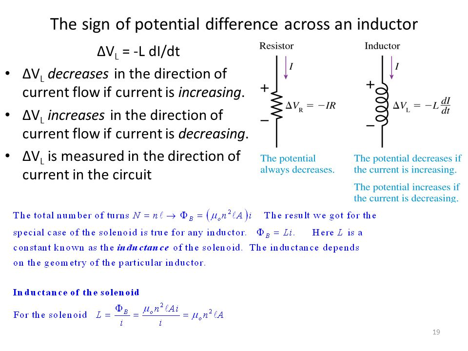 Potential difference across an inductor If the inductor current is decreased, the induced magnetic field, the induced current and the potential differ
