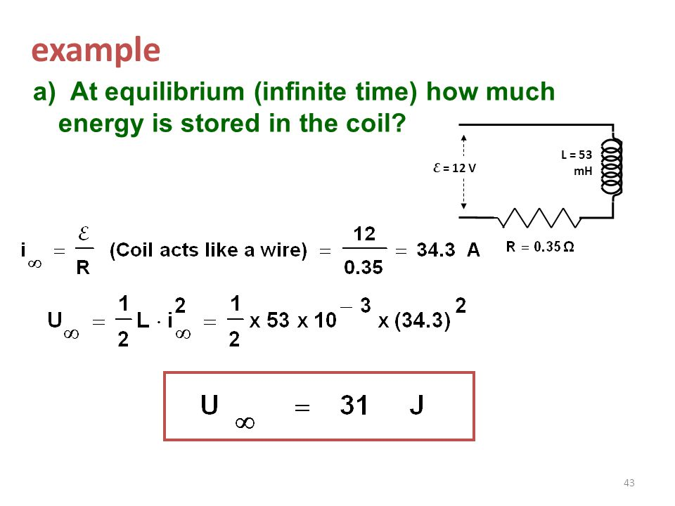 Example: Current I increases uniformly from 0 to 1 A. in 0.1 seconds. Find the induced voltage across a 50 mH (milli-Henry) inductance. Negative resul