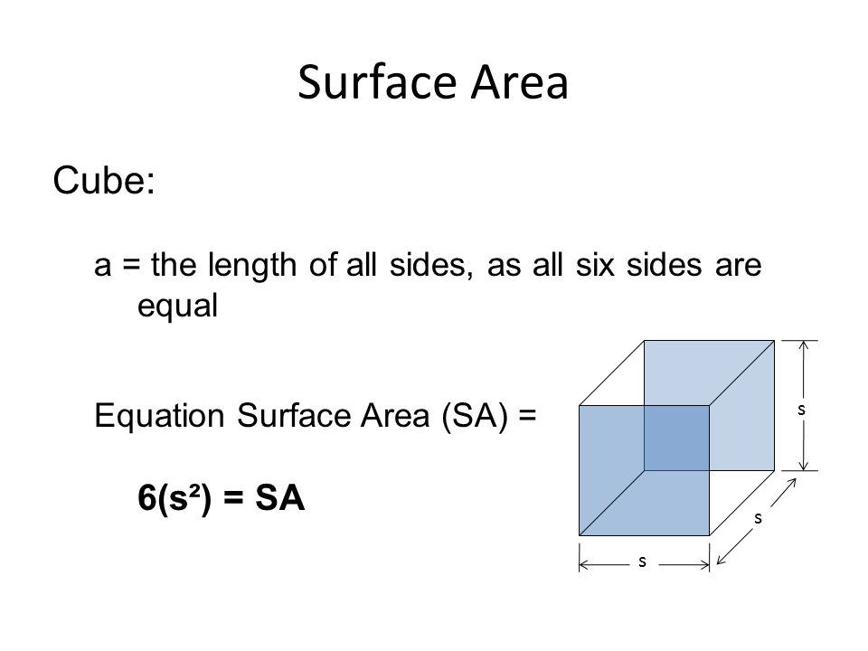 Surface Area Cube: a = the length of all sides, as all six sides are equal Equation Surface Area (SA) = 6(s²) = SA s s s