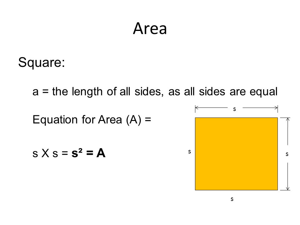Area Square: a = the length of all sides, as all sides are equal Equation for Area (A) = s X s = s² = A s s s s