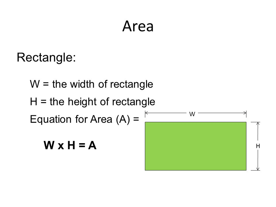 Area Rectangle: W = the width of rectangle H = the height of rectangle Equation for Area (A) = W x H = A W H