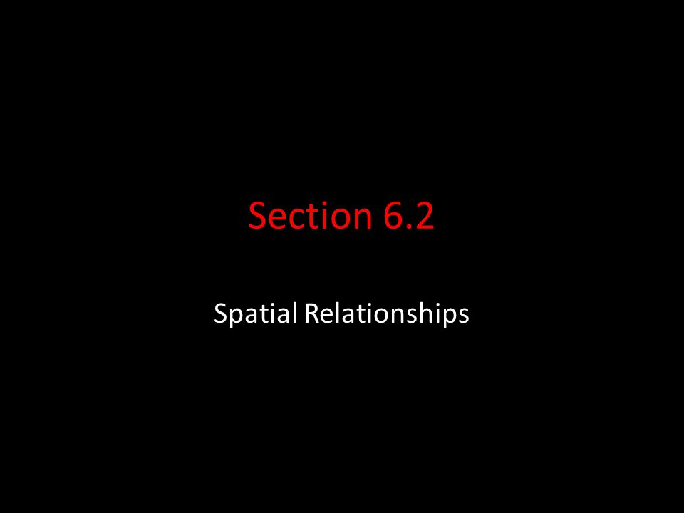 Section 6.2 Spatial Relationships