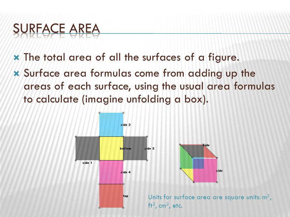  Recall that for the box, V = lwh.Also notice that the area of the base of the box is A = lw.