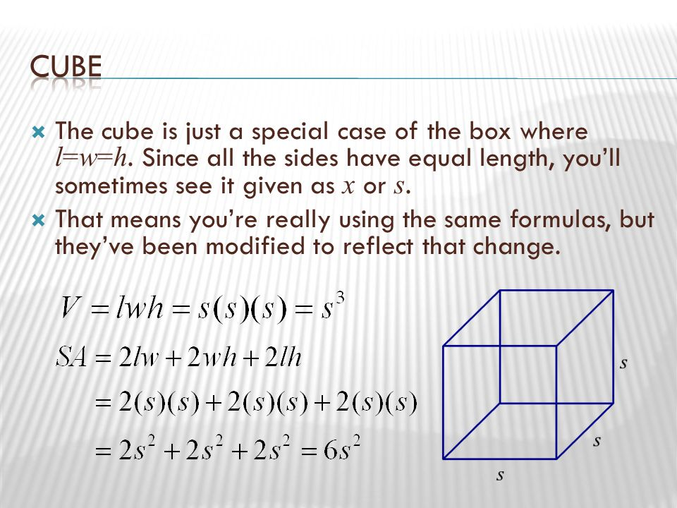  Surface area:  Again, surface area comes from picking apart the figure and finding the area of each surface.
