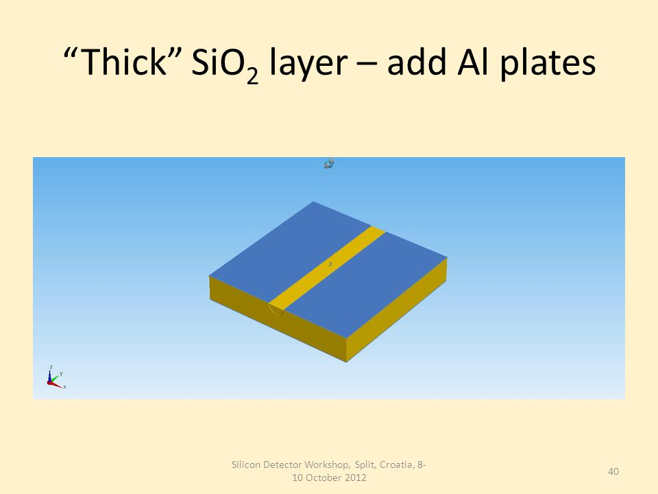 Thick SiO 2 layer – add Al plates Silicon Detector Workshop, Split, Croatia, 8- 10 October 2012 40