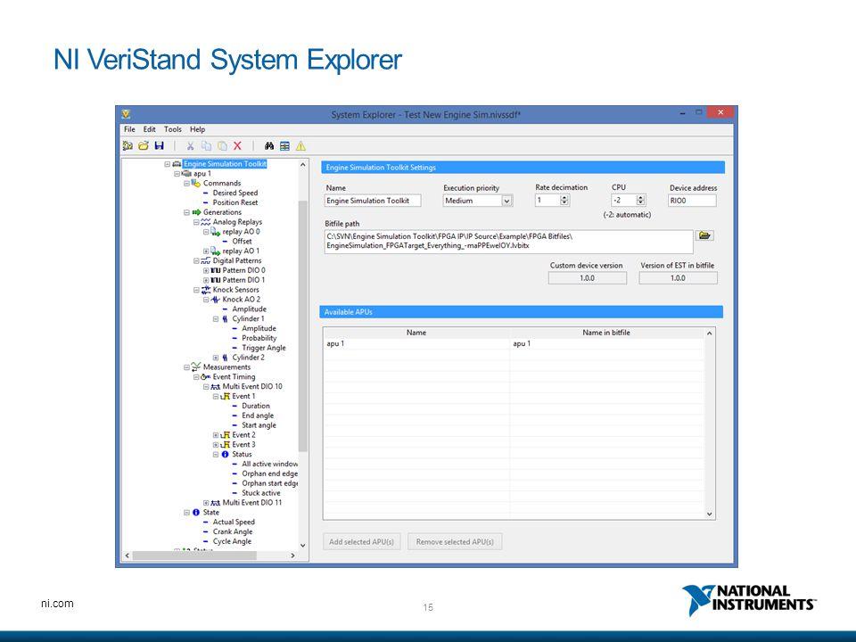 15 ni.com NI VeriStand System Explorer