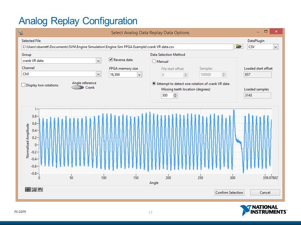 17 ni.com Analog Replay Configuration