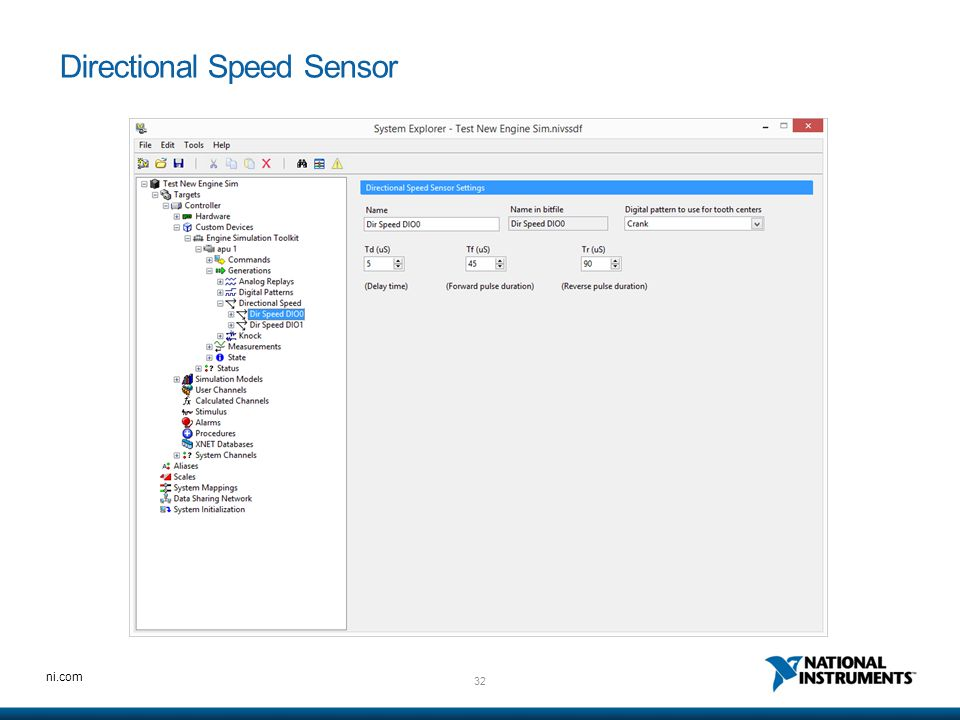 32 ni.com Directional Speed Sensor