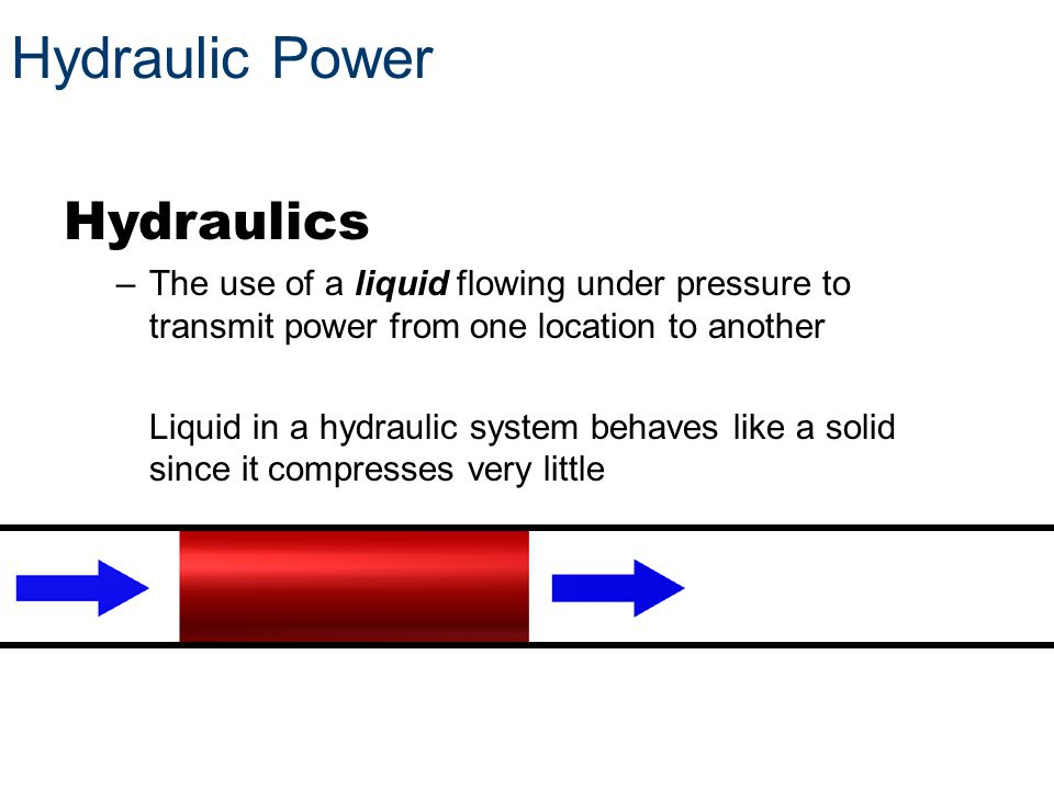 Hydraulic Power Hydraulics –The use of a liquid flowing under pressure to transmit power from one location to another Liquid in a hydraulic system beh