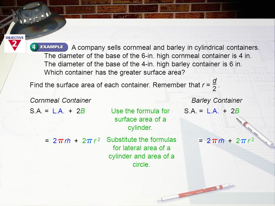 A company sells cornmeal and barley in cylindrical containers. The diameter of the base of the 6-in. high cornmeal container is 4 in. The diameter of