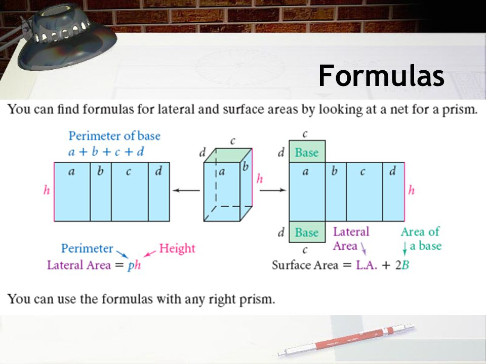 S.A.= L.A. + 2B Cornmeal ContainerBarley Container Use the formula for surface area of a cylinder.
