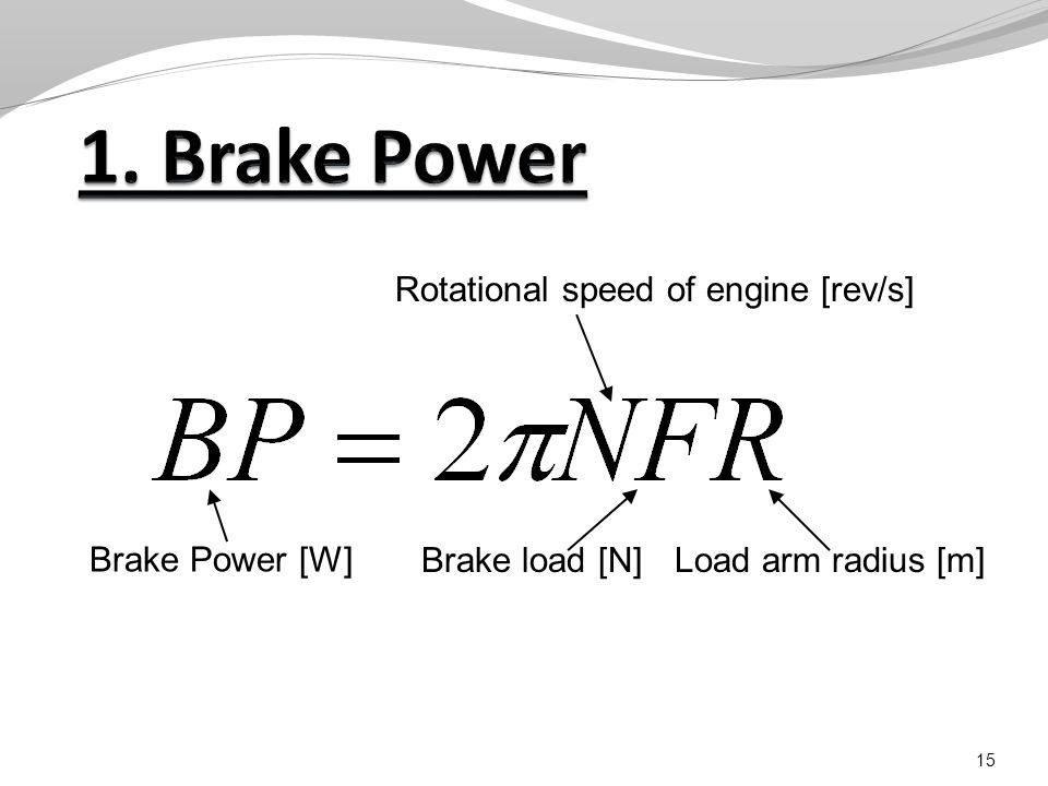 15 Rotational speed of engine [rev/s] Brake load [N]Load arm radius [m] Brake Power [W]